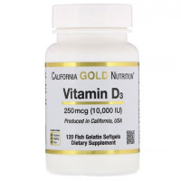 California Gold Nutrition Vitamin D3(витамин Д3) 10000 IU(МЕ), 120 капс.