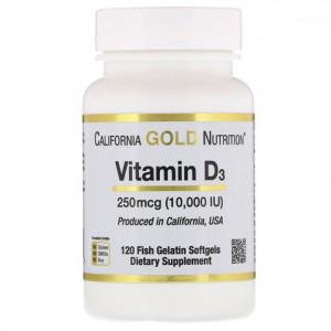 California Gold Nutrition Vitamin D3(витамин Д3) 10000 IU(МЕ), 120 капс.