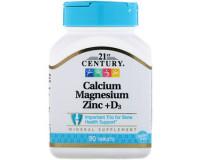 21st Century, calcium magnesium zinc + D3( Кальций, магний, цинк + Д3), 90 табл.