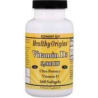 Healthy Origins Vitamin D3 5000 IU(МЕ), (витамин Д3), 360 капс.