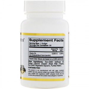 California Gold Nutrition Vitamin D3(витамин Д3) 5000 IU(МЕ), 90 капс.