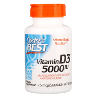 Doctor's Best  Vitamin D3(витамин Д3) 5000 IU(МЕ), 180 капс.