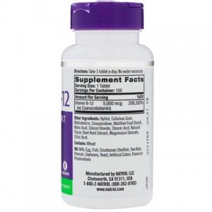 Natrol, B12 (Цианокобаламин, Витамин B12), 5000 мкг, 100 табл(порций)