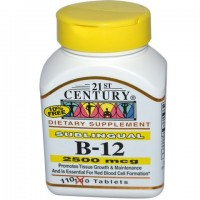 21st Century, B12 (Цианокобаламин, Витамин B12), 2500 мкг, 110 табл(порций)