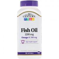 21st Century Fish Oil Omega 3 (рыбий жир, омега 3), 1200 мг, 90 капс.