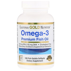 California Gold Nutrition, Omega-3 Premium Fish Oil (рыбий жир, омега 3), 1000 мг, 100 капс.
